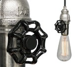 Industrial Upcycled Valve Pipe Pendant Light- Nickel