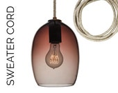 Hand Blown Glass Pendant Light- USA MADE- Marsala & Sweater Cord