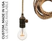 Ship Rope Cord Nautical Bare Bulb Pendant Light