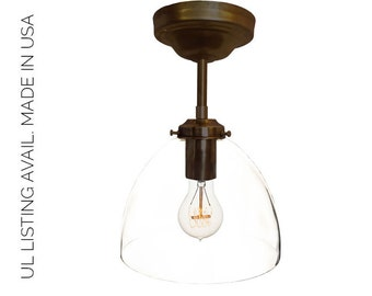 Bronze Hand Blown Glass Pendant Light- MADE IN USA