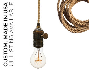 Ship Rope Cord Nautical Bare Bulb Pendant Light