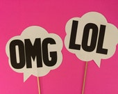 2 Thought bubbles on a stick, Wedding photo props, photo booth props,  OMG and LOL on a stick
