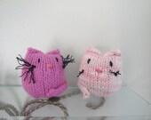 Plush Kitty Toy, Bean Bag Cat, Knitted Softie, Stuffed Plushie