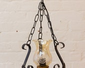 Vintage French Light fitting, Etched glass, wrought iron, chain, wood, country look, country home