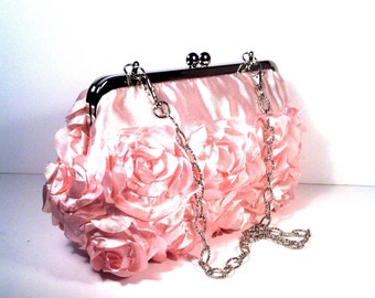Baby Pink Roses Purse Clutch Bag 8 X 4.5 X 2 w/ 20 inches Silver Chain Handle