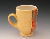 Warm Yellow Porcelain Coffee Mug with Orange Turquoise and Red