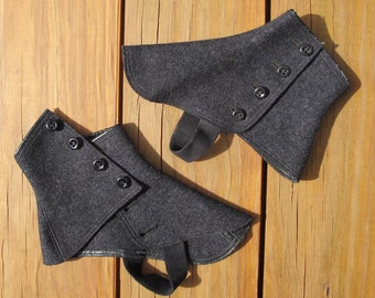 Vintage Wool Button-up Spats in Charcoal Gray by Wilson Brothers Haberdashery