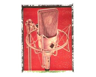 Vintage mic microphone art print / music gift / rock n roll art / music room decor / guitar gift / man cave art