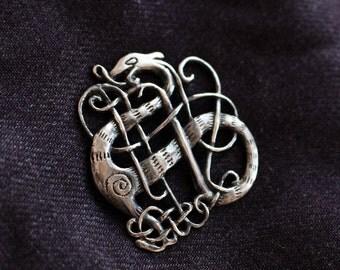 Medieval Urnes Style Dragon Brooch, Sterling Silver
