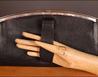 30s 40s huge purse ART DECO handbag bag black leather clasp original vintage 1930 1940