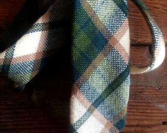 Vintage Tartan Woven Wool Tie Green and White Scottish National Trust