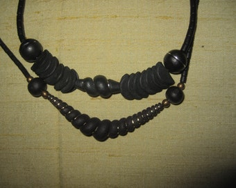 Vintage ebony wood two necklaces Designed Hand made modernist top l.21 and 18 cm
