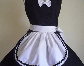 PLUS SIZE Retro Black and White French Maid Apron Wide Circular Skirt