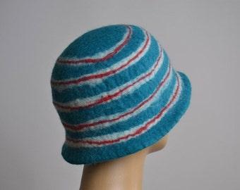 ON SALE Nuno Felted Hat - Felted Hats - Merino Wool Felted Hat - Winter Hats - Rainbow hat - Winter Hats  - Felted Hat