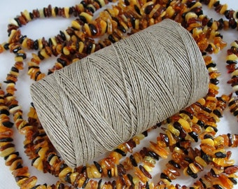 16,5 yards   NATURAL  WAXED   linen  thread  1-Ply /  0,5 mm in diameter