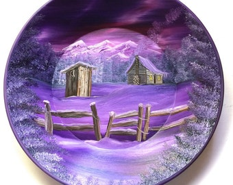 Hand Painted 11 Inch Gold Pans Mountain Mauve Winter Cabin Out House Fence