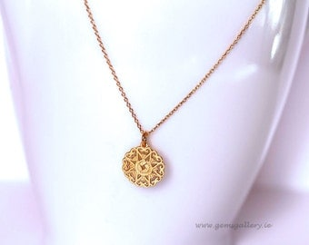 Gold Pendant, Sterling Silver Gold Plated Necklace, Gold Rosette Pendant
