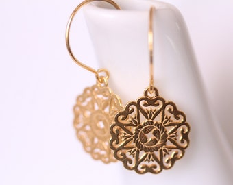 Gold Earrings, Sterling Silver Gold Plated Earrings, Gold Rosette Earrings
