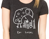 Eat Local Monster Womens T shirt - Bella Triblend Scoop Neck -  S,M,L,XL,2XL