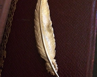 Gold Tone Feather Pin by Napier