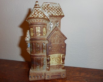 Wall Pocket, Vintage, 1970's, San Francisco Row House, Stoneware, Hippie, Glazed, Counterpoint, Made in Japan, Rustic