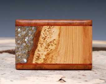 SALE:  Exotic Wood, Brass and Mother of Pearl Inlaid Belt Buckle - Handmade