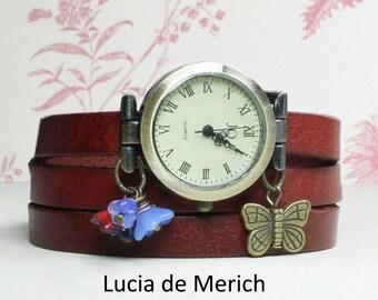 Butterfly Garden Wrap Watch - green forest girl style jewelry - gardener gift