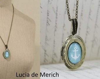Long Anchor Locket Necklace, Vintage Nautical Anchor Pendant, Silver/Bronze Necklace Pendent, Silver/Bronze Jewelry Anchor Necklace