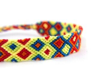Rainbow Friendship Bracelets // Handwoven Thin Bracelet Gift for Best Friend with a Boho Chic Folk Style // Summer Wrist Wrap for the Beach