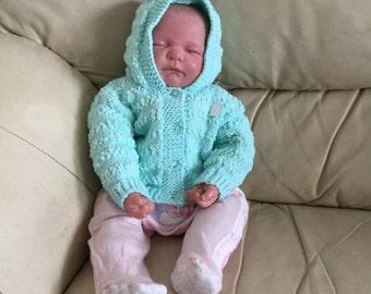 Mint Green Hooded Newborn Baby Jacket - 0-3 mths