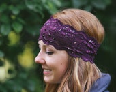 "Deep Purple 3"" Floral Lace Headband with jeweled adornments"