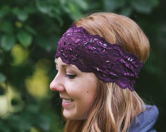 """Deep Purple 3"""" Floral Lace Headband with jeweled adornments"""