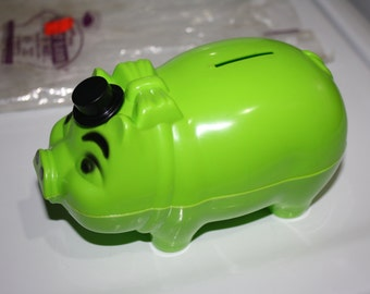 Durabrite Porky Piggy Bank, Lime Green, New in Package, Tips Hat
