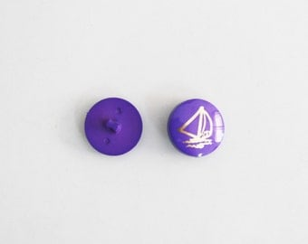 """SALE / 13 Vintage Purple with gold boat Buttons 0.9""""/ Plastic buttons/ Kids fashion buttons/large buttons"""