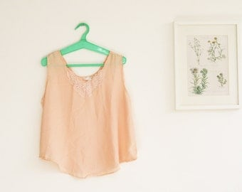 SALE/ Vintage peach tank/ Summer fashion/ Oversize top