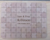 80 Large (2 inch) pieces CUSTOM  Wedding Guest Book Puzzle with Heart Tabs