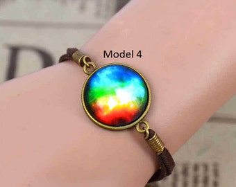 Bracelets with galaxies cabochon 17+5cm