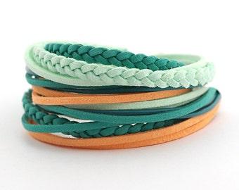 SALE Mint Teal Peach Boho Wrap Bracelet, Mint Teal Women Bracelet, Gypsy Bracelet, Summer Bohemian jewellery, gift for her, boho chic