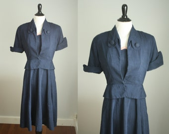 1940s dress | vintage 40s dress with peplum jacket