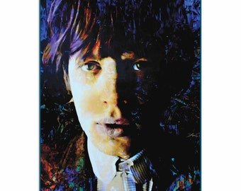 Pop Art 'Mic Jagger Poetic Secrets' by Artist Mark Lewis, Colorful Mic Jagger Painting Limited Edition Giclee Print on Metal or Acrylic