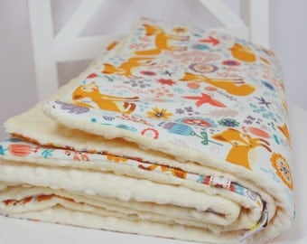 Baby Blanket- Minky Baby Blanket- Fox, Foxy Meadow Baby Blanket - Vanillia, Orange Teal - ready to ship!