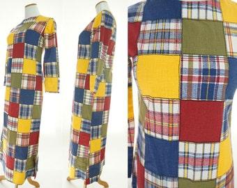 Maxi Dress / Patchwork Dress / Plaid Dress / 1970s Dress / Medium