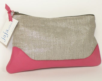 Pouch LOUISE shiny linen and pink leather