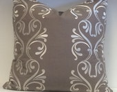 MOKUM TAUPE COTTON Fabric with white shimmery Embroidery Detail Pillow Cover