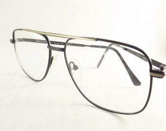 Mens Aviator Eyeglasses, Black and Gold Metal Eye glasses, Vintage Square Fixed Bridge Frames, New Old Stock