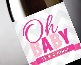 """Pregnancy Reveal """"Oh Baby, It's A Girl"""" Wine Label ... In Pink - Instant Download PDF"""