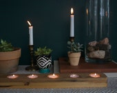 Reclaimed Wood Tea Light Runner - Chunky Style - Christmas Gift - Holiday Shopping - Candle Light - Candle Holder