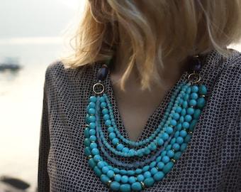 Vivian - Turquois, Aquamarine, Amazonite and Swarovski Pearls Multistrand Statement Necklace