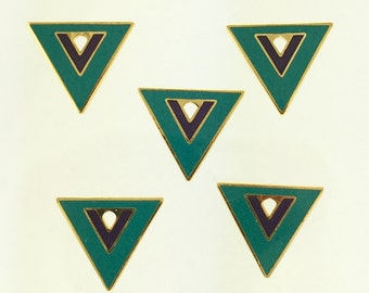 5 Vintage Laurel Burch Teal Triangle Cloisonné Jewelry Craft Bead or Charms