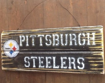 Pittsburgh Steelers Sign  Reclaimed Wood Sign Recycled Wood Sign Rustic Wood Sign Steelers fan